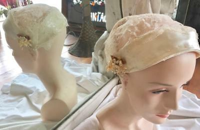 Vintage 1950s Fitted Wedding Bridal Hat White Satin Lace Beads Shirley Lipton