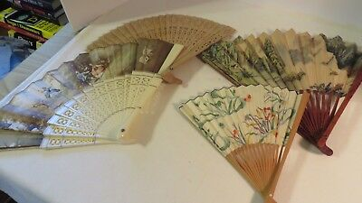 4 Vintage Hand Fan Folding One Spanish One Wooden,Chinese, Plastic or Celuloid