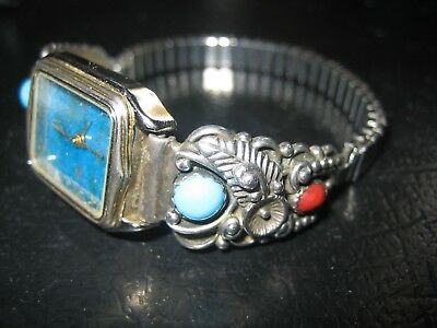 Vintage Old Sterling Silver Turquoise & Coral WATCH Signed STC not workin