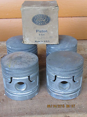 NOS Ford Flathead 6 Cylinder Pistons 1940's 1950's fomoco O1-6110 0.030 O.S.