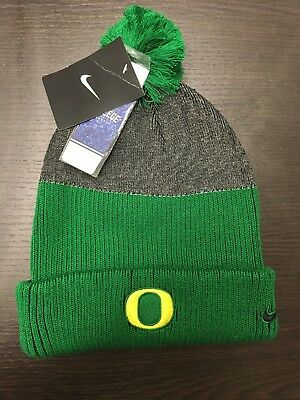 competitive price a2e8a cb6d6 Nike Oregon Ducks New Day Pom Beanie Cap Knit Hat Adult One Size