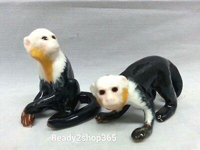 Capuchin Monkey Figurine Miniature Ceramic Animal Collectibles Handmade White
