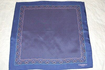 E Marinella  Navy Silk Pocket Square/handkerchief. New