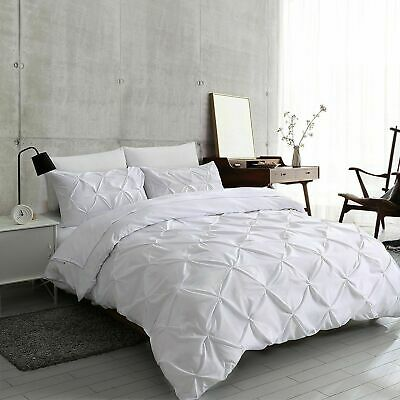 Luxury Pin Tuck Duvet Quilt Cover Bedding Set Single Double King With Pillowcase