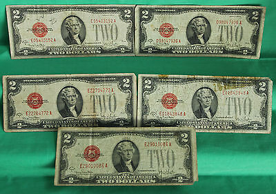 A Lot of 5 1928 G Low Grade $2 Two Dollar Red Seal Paper Money FR#1508