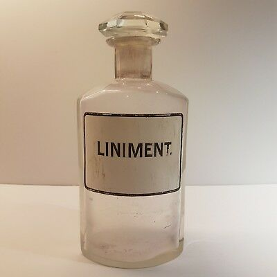 "Vintage Crystal Glass Clear Apothecary Pharmacy Bottle x 800 ml ""LINIMENT."""