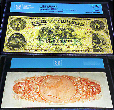 Bank Of Toronto 1929  $5 , Large Banknote With Beautiful Images