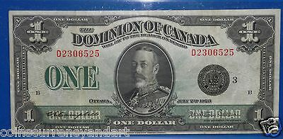 """Dominion Of Canada - 1923  $1 - D series - """" DC-25n"""" -Large Size  Banknote"""