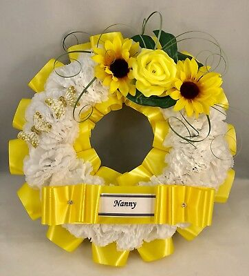 Artificial Yellow Flower Ring Wreath Memorial Tribute Funeral Grave Sunflower