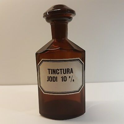 "Vntg. Crystal Glass Brown Apothecary Pharmacy Bottle 300 ml ""TINCTURA JODI 10%"""