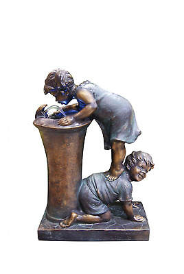 Alpine Boy and Girl Drinking Water Fountain with Led Light