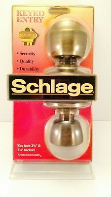 New Old Stock Schlage F51N V BEL 609 Keyed Entry Bell Antique Brass Panic Proof