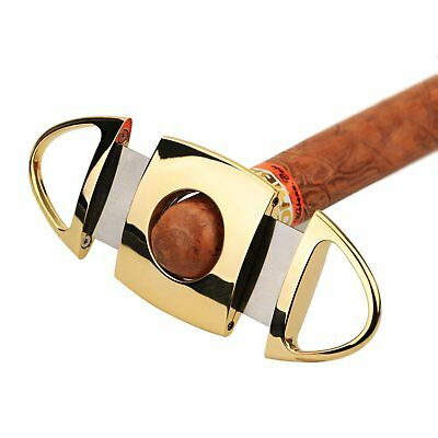 CyJay Stainless Steel Double Cut Cutting Butterfly Blades Cigar Cutter - Gold