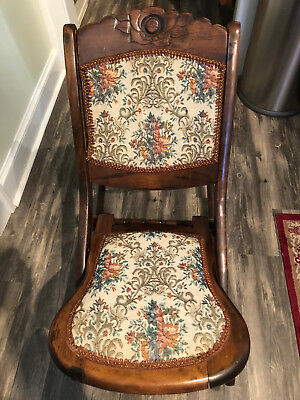 Victorian Embroidered Folding Rocking Chair Antique Circa 1880 19th century