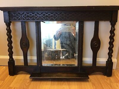 Antique Victorian Eastlake Entry Mirror Carved Wood Spindles