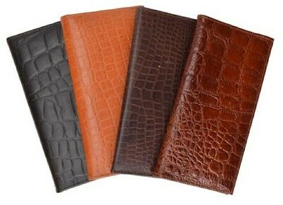 Marshal Crocodile Pattern Padded Leather Checkbook Cover-1 Card, Pen Slots#156CR