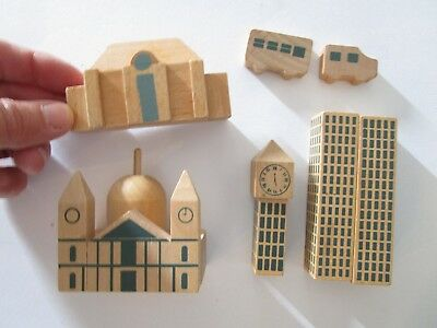 Vintage wooden building block set - tiny vehicles - mosque, clock tower