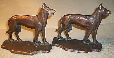 Antique Chad Cast Iron Bookends With Bronze Finish German Shepherd Dog Made Usa