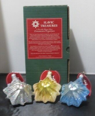 Slavic Treasures Twinkle Little Stars NEW Glass Christmas Ornament Set of 3