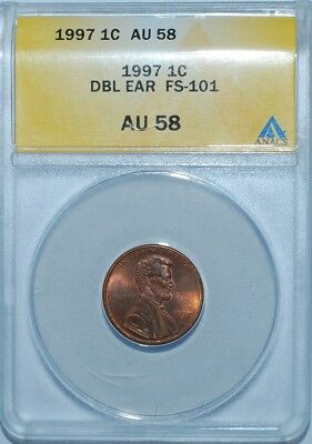 1997 ANACS AU58 FS-101 1C Doubled Die Obverse Double Ear Lincoln Cent Looks BU