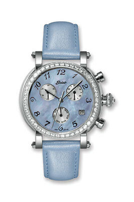 Ladies Belair Watch with Blue Leather band, mother of pearl dial,  and Swarovski