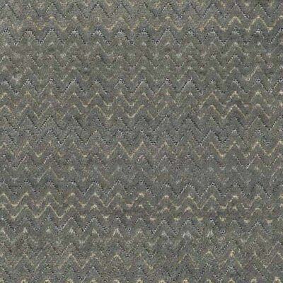 Gray Chenille With Chevron Pattern Plush Upholstery Fabric By