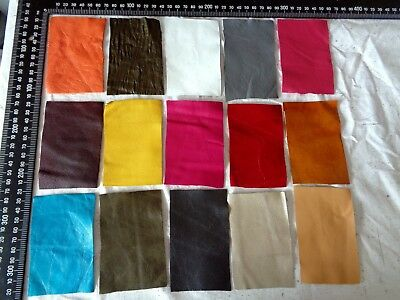 Brand New 15 piece GENUINE LEATHER SCRAPS, OFF CUTS for CRAFTS & HOBBIES-Lot A10