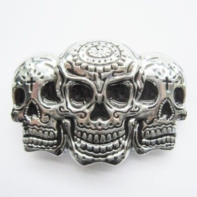 Silver Tattoo Skulls removable BELT BUCKLE - BP101