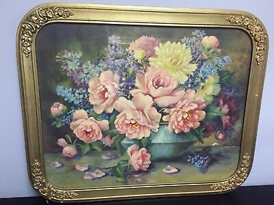 Antigue Gold Guilded Frame Flower Picture