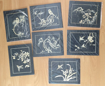 Chinese Hand Made Wheat Stalk Pictures set of 7