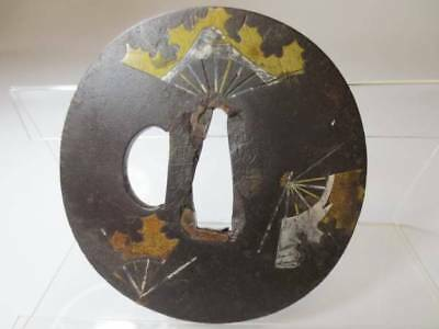 Excellent Katana Sword Tsuba Japanese Antique Edo Folding Fan Brass F/S Vintage