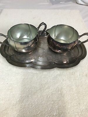 Vintage Silver Plated Over Copper World Silver Brand Sugar Creamer Set