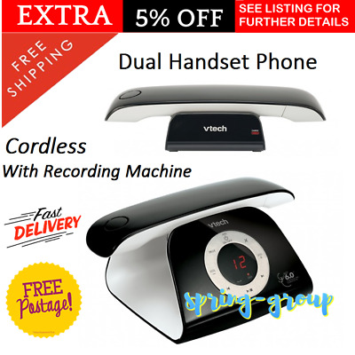 Cordless Home Phone Digital Battery WiFi Answering Machine Intercom 2 Handsets