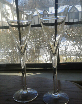 """Pair of TALL 9.75"""" ELEGANT Clear Cut 3 Crystal Champagne Glasses Stem Flute Wine"""