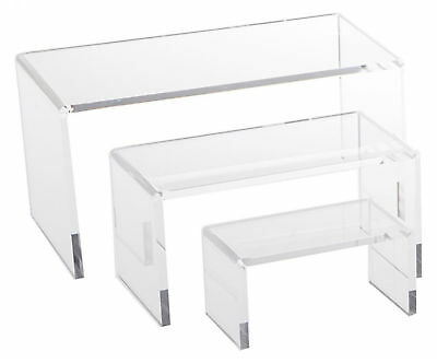 Clear Acrylic Riser Set Small Showcase Display 3 Pcs Jewerly Shelf Plastic New