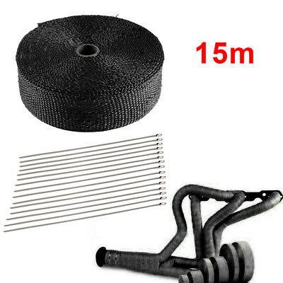 15M TITANIUM WRAP EXHAUST MANIFOLD BLACK INSULATING STARP + 10 CABLE TIES Hot