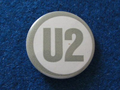 Vintage Button Badge - U2 - White & Grey