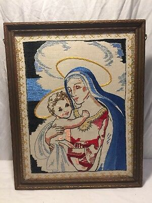 Vintage 30's 40's Hand Stitched Folk Art of Mother Mary and The Christ Child