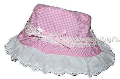 Baby Girls Pink Gingham Broderie Anglaise Bow Summer Sun Hat
