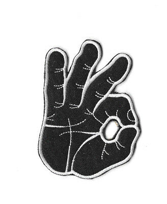 OK HAND SIGN Iron On / Sew On Patch Embroidered Badge Funny Meme PT369