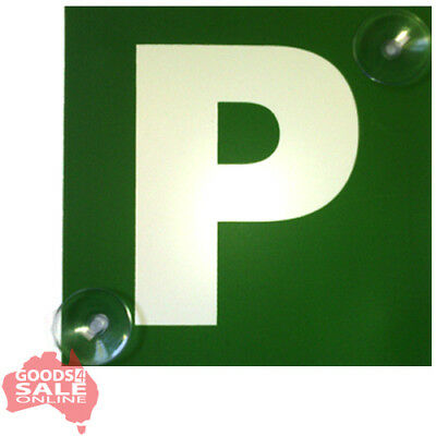 2x Green & Red Reversible P Plate Probationary Car Signs w/Suction Cups - VIC WA