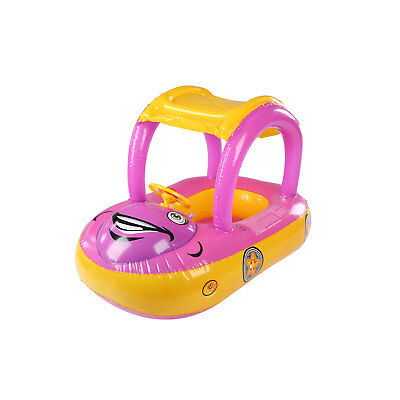 Kids Inflatable Baby Float Seat Boat Car Sun Shade Water Swimming Pool Canopy