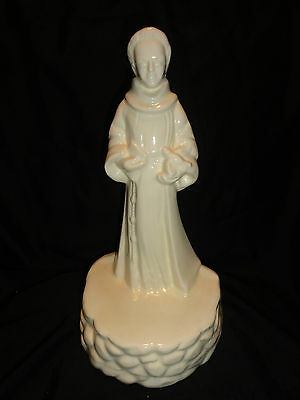 "Statue Lamp Base? VTG St. Francis of Assisi Dove Figure All White Ceramic 15"" T"