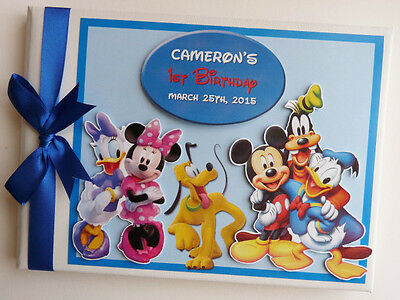 Personalised Disney Clubhouse Boy/girl /first/1St Birthday Guest Book Any Design