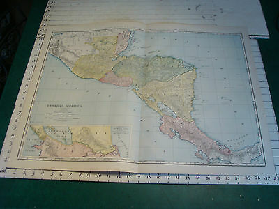 Vintage Original 1898 Rand McNally Map:  CENTRAL AMERICA, 28 x 21""