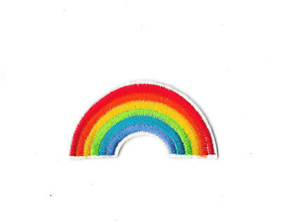 RAINBOW Iron On / Sew On Patch Embroidered Badge Motif Transfer Peace PT312