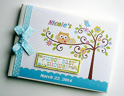Personalised Happi Tree (Blue) Baby Shower Boy/girl Guest Book - Any Design