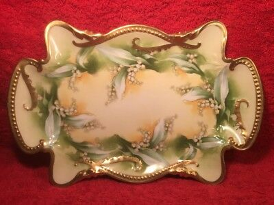 Gorgeous Antique Hand Painted Limoges Lily Of The Valley Dresser Platter, L385