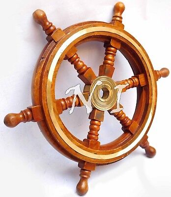 Nautical Ship Wheel 12'' Brass & Wood Pirate Boat Nautical Home Decor Steering
