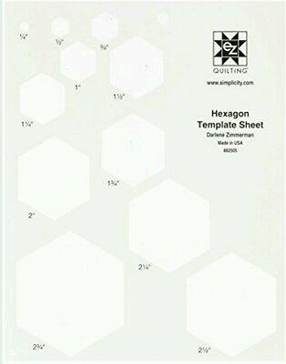 """Hexagon Template Sheet,11 Size From 1/4 To 2.3/4""""translucent- Ez Simplicity Bnew"""